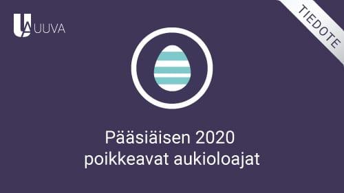Pääsiäisen 2020 poikkeavat aukioloajat